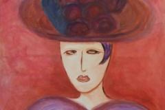 pompom-dame, inspiriert von a.v.jawlensky, 100x100, acryl auf leinwand, preis auf anfrage
