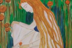 der traum, ausschnitt nach einem bild von f. hodler, 50x70, acryl auf leinwand, preis auf anfrag