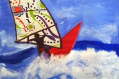 surfer, 40x40, acryl auf stoff, privatbesitz
