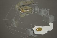 quadratur des eies, 70x50 mischtechnik